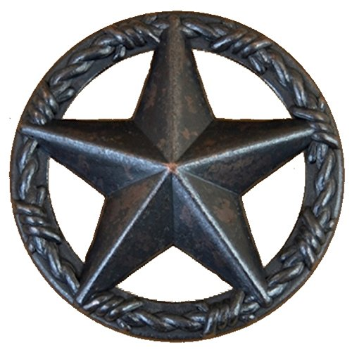 (Set of 6 Star with Barbwire Ring Drawer or Cabinet Pull (Oil Rubbed Brass))