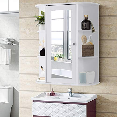 KOVALENTHOR Bathroom Cabinet, Organizer Wall Mounted with Mirror, Cabinet with Single Door Shelves, 6 Open Shelves and 1 capacious Storage, White