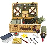 Picnic Classic Wicker Picnic Basket With Built-in Food Compartment With Fleece Blanket - Green
