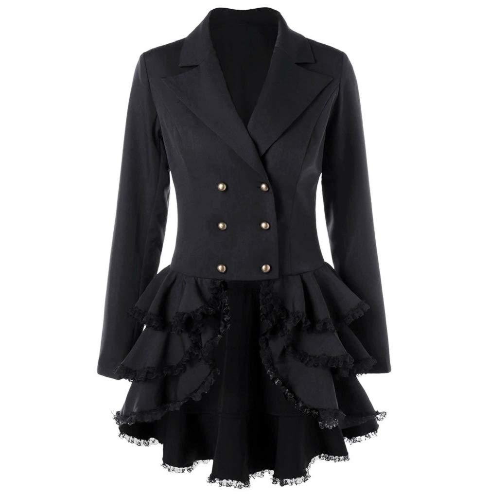 381a0e38b5e FNKDOR Manteau Femme Automne Hiver Vintage Punk Gothique Noble Veste Mode  Chic Loisir Ourlet Asymmetric Classic
