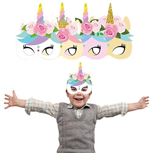 SHZONS Unicorn Masks, 24pcs Rainbow Unicorn Monster Themed Party Favors,DIY Paper Masks with Elastic Band,7.67×8.46''