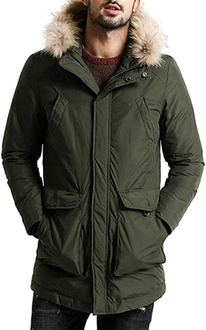 MK988 Mens Faux Fur Hooded Winter Loose Fit Big Pockets Plus Size Quilted Jacket Parka Coat Outerwear