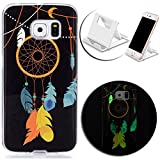 Galaxy S7 Edge Case,Galaxy S7 Edge Cover,Vandot Luxury Slim Fit Soft TPU Silicone Cover Colorful Printing Noctilucous Luminous Case Skin Cover Glow in the Dark for Samsung Galaxy S7 Edge SM-G935F+Charging Holder-Dream Catcher