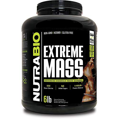 NutraBio Extreme Mass 6 lbs (Chocolate) - High Calorie Mass Gainer Supplement