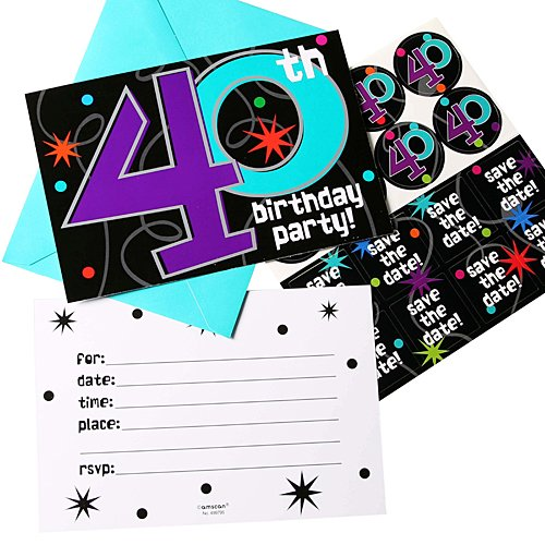 The Party Continues 40th Birthday Party Invitations, 8 Pieces, Made from Paper, 4 1/4