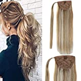 LaaVoo 16inch Clip in Ponytail Extension Wrap Around Pony Tail Human Hair Natural Long Remy Invisible One Piece Balayage Light Golden Brown Mixed Light Blonde 80g/Pack #12/24