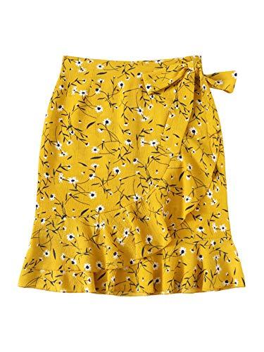 WDIRARA Women's Elegant Mid Waist Above Knee Ruffle Hem Casual Floral Skirt Yellow M