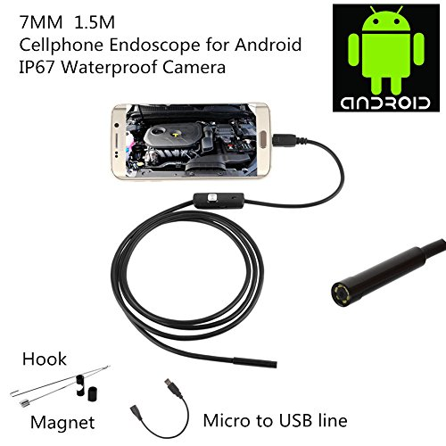 Dewel 2in1 7MM 6 LED 2MP Cellphone Endoscope for Android System with OTG and UVC Function & Compatible with laptop,Waterproof (USB adapter included) (1.5M) by DEWEL