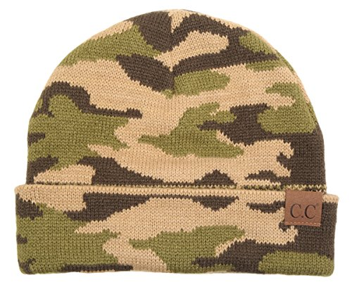 Funky Junque's Camouflage Camo Print Knit Cuff Beanie Warm Winter Hat Skully Cap (Winter Print Beanie)