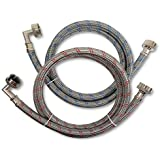 Premium Stainless Steel Washing Machine Hoses with 90 Degree Elbow, 5 Ft Burst Proof (2 Pack) Red and Blue Striped Water Conn