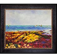 La Pastiche RN7195-FR-M8334320X24 Low Tide at Yport with Sambrosa Distressed Espresso Framed Hand Painted Oil Reproduction,