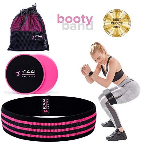 Fabric Resistance Band and Core Sliders Set - AntiSlip Exercise Band for Legs, Abs and Butt for Women. Booty Band for Gym or Home Workout. Hip Circle Bands for Lunges and Squats. 2019 Upgraded