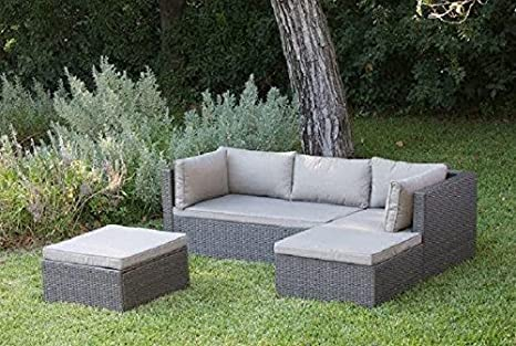 Set sofa marbella grigio chaise longue pouf divano 3 p cuscini my