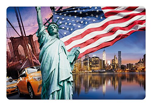 Ambesonne United States Pet Mat for Food and Water, USA Touristic Concept Collection Statue of Liberty NYC Cityscape Flag Cars, Rectangle Non-Slip Rubber Mat for Dogs and Cats, ()