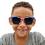 USA Merchant | Sunglasses for Men, Women & Kids by Ray Solée- 3 Pack of Tinted Lenses with UVA & UVB Protection 10 3 PIECE PACK - This bulk pack of inexpensive shades comes with 3 American flag themed glasses great for summer time and parties all year round. UVA&UVB - Ray Solée glasses are ultraviolet tinted with anti-reflective UV 400 protection from the sun. MONEY BACK GUARANTEE- We are so sure that you will love our product that it comes with a 30 day Risk-Free 100% money-back-guarantee. If you are not fully satisfied with our product, let us know and receive a full refund.
