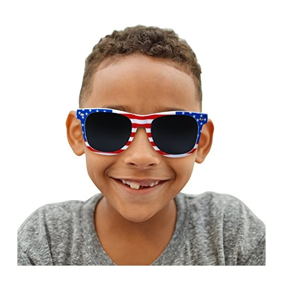 USA Merchant | Sunglasses for Men, Women & Kids by Ray Solée- 3 Pack of Tinted Lenses with UVA & UVB Protection 5 3 PIECE PACK - This bulk pack of inexpensive shades comes with 3 American flag themed glasses great for summer time and parties all year round. UVA&UVB - Ray Solée glasses are ultraviolet tinted with anti-reflective UV 400 protection from the sun. MONEY BACK GUARANTEE- We are so sure that you will love our product that it comes with a 30 day Risk-Free 100% money-back-guarantee. If you are not fully satisfied with our product, let us know and receive a full refund.