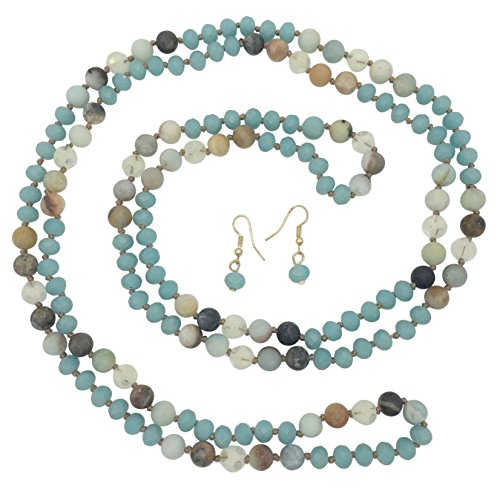 Jewel Tone Necklace Set (Long Multi Color Natural Stone & Glass Beaded Necklace & Earrings Set (Blue & Brown Tones))