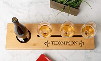 ba490ac666 Qualtry Personalized Wine Bottle and Glass Tray 22.5in x 6.5in with  Optional Personalized Wine