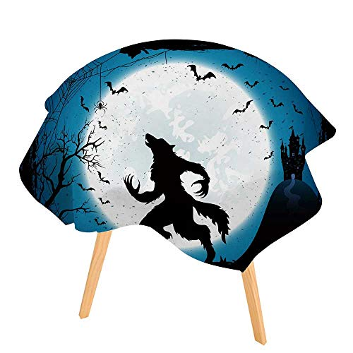 PINAFORE Indoor/Outdoor Tablecloth Dark Halloween with Moon on Blue Sky Castle and Werewolf Spiders and Flying Bats Available in Many Different Sizes and Colorways 67