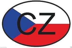 CZ Czech Republic Country Code Oval with Flag Bumper Sticker Laptop Sticker Toolbox Sticker Helmet Sticker