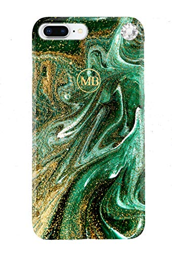 Swarovski iPhone 7+/8+ case Malachite Color Design Fashion Cover Phone Protective case Anti-Scratch Long Lasting Slim fit dust Proof Anti-Finger Colorfast Girls Women Glossy Plastic