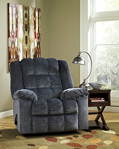 Cheap Ludden 8110525 40 Rocker Recliner with Plush Pillow Top Arms Supportive Divided Back Cushion and Side Handle To Activate Reclining Mechanism in Blue
