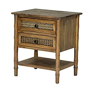 Heather Ann Creations Wallace Collection Living Room Bamboo Style 2 Drawer End Table, Rustic Farmhouse, Standard