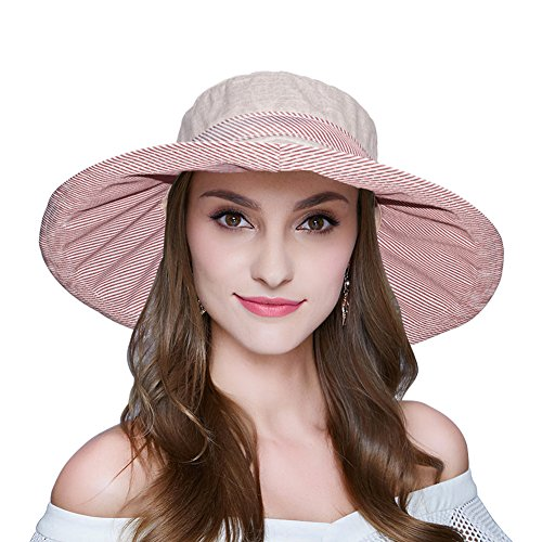 AOMUU Womens Summer Sun Hat Foldable Floppy Wide Brim Beach