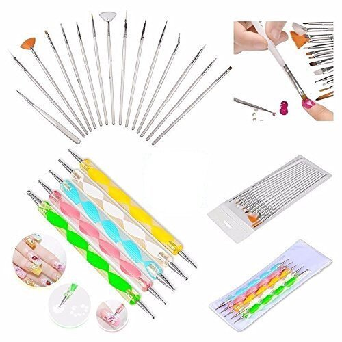Boolavard® 20pc Nail Art Manicure Pedicure Beauty Painting Polish Brush and Dotting Pen Tool Set for Natural, False, Acrylic and Gel Nails Boolevard Cosmetics Limited