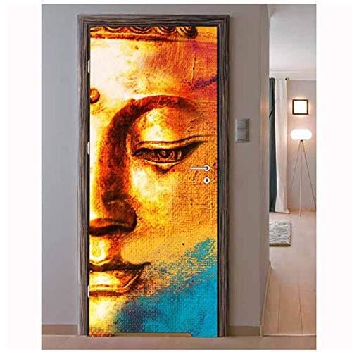 Etiqueta De La Puerta De Bricolaje Autoadhesiva Calcomanía De Loto Buddha DecoraciónPara ElHogarSala De Estar De Pvc Impermeable A Prueba DeArte3DMural MuralPoster 77 * 200 Cm