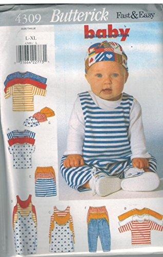 (4309 UNCUT Butterick Infant Sewing Pattern Jacket Top Jumper Jumpsuit Shorts Pants Hat Size L XL)