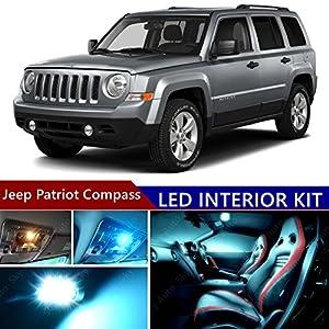 Jeep Patriot Compass 2007 2015 LED Premium ICE Blue Light Interior Package  Kit ( 8 Pcs )