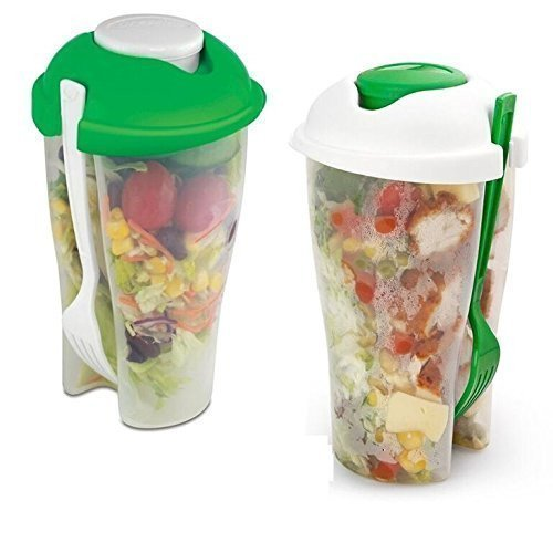 MareLight 2 Pack Fresh Salad To Go Portable Shaker Container