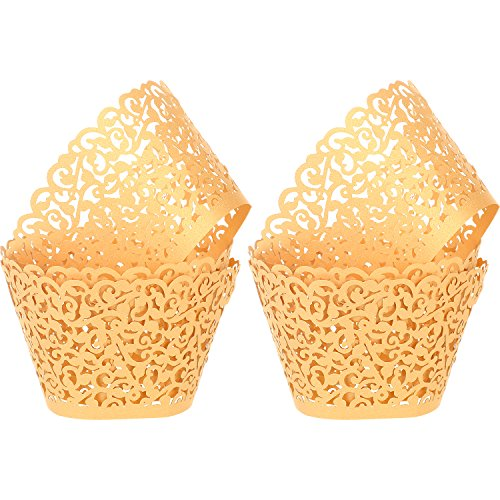Leinuosen 150 Pieces Cupcake Wrappers Filigree Vine Cupcake Wraps Lace Cupcake Liners for Wedding Birthday Baby Shower Parties Decoration (Gold)