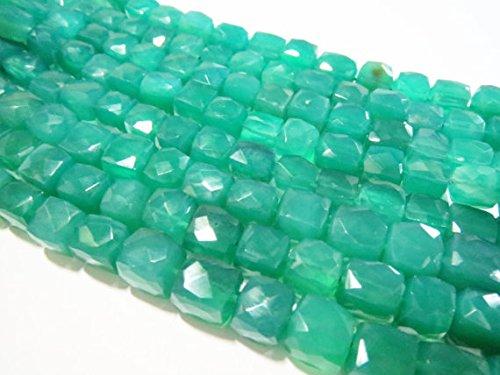 JP_BEADS Natural Green Onyx Faceted Box Cube Semi Precious Stone Gemstone Bead Strand 8