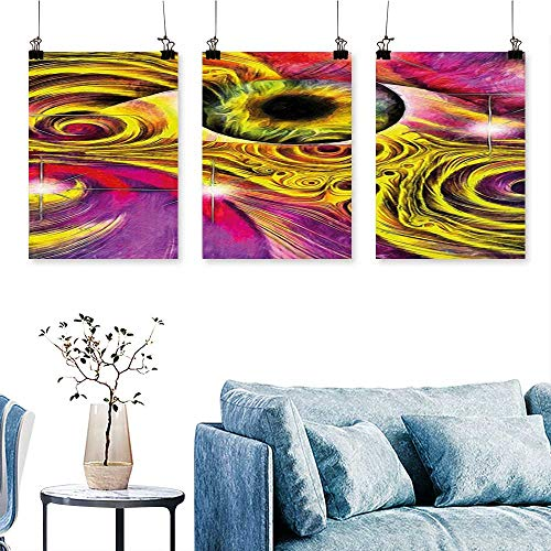 - SCOCICI1588 3 Panel Canvas Wall Art Hallucinatory Eye in Vivid Colors with Optical Swirl Lines Graphic Fuchsia Yellow Print On Canvas No Frame 24 INCH X 47 INCH X 3PCS