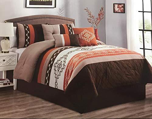 Linen Mart Queen Comforter 7 Piece Set Southwest Brown Native Aztec Rustic Orange Decor Luxury Microfiber 1 Skirt 2 Shams 3 Pillows