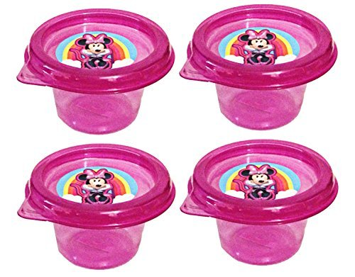 Disney Minnie Mouse Mini Plastic Reuseable Snack Containers with Lids 4 Fl Oz (Set of 4) (Minnie Mouse Container)