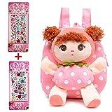 Hyundly Toddler Kids Mousse Doll Detachable Backpacks, Cute Girls Mini School Backpack For
