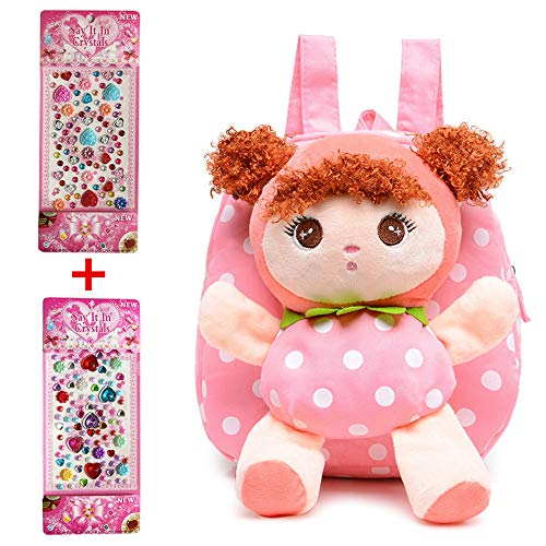- Hyundly Toddler Kids Mousse Doll Detachable Backpacks, Cute Girls Mini School Backpack For Kids Age 1-5years Old, 2 Pcs Crystal Gem Stickers (Pink3)