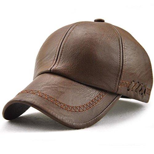 GESDY Men's Vintage Adjustable PU Leather Baseball Cap Outdoor Sports Driving Sun Hat (Light coffee1), 56-62cm