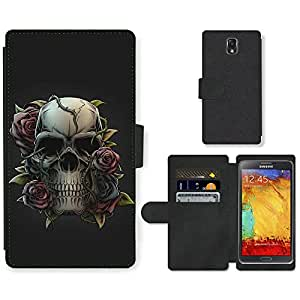 Hot Style Cell Phone Card Slot PU Leather Wallet Case // M99999499 Skull and Rose // Samsung Galaxy Note 3 III N9000 N9002 N9005