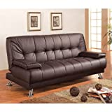 Leatherette Sofa Bed in Brown Color, Foam Seating, Chrome Legs, Klin-dried Solid Wood Frame, Spring Back with Webbing, Futon, Living Room, Bundle with Expert Guide for Better Life