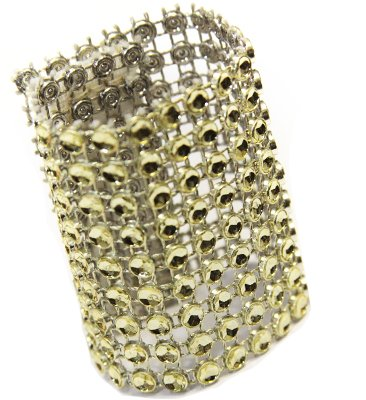 """50 Pk, Rhinestone Velcro Sash Clip / Napkin Ring Approx. 1.75""""W x 4.50""""L; Material: Plastic Decoration Mesh with diamond studded w/Velcro sewn in the back - GOLD"""