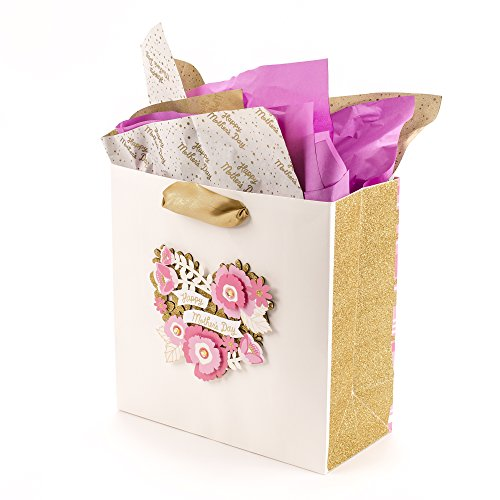 other's Day Large Gift Bag with Tissue Paper (Pink, Ivory and Gold Heart Floral Bouquet) (Happy Mothers Day Bouquet)