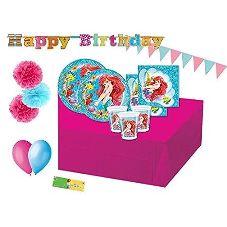 Coordinato Addobbi e Decorazioni per Festa di Compleanno della Sirenetta Ariel - Tovaglia, Piatti, Bicchieri, Tovaglioli, Bandierine, Festoni e palloncini varie