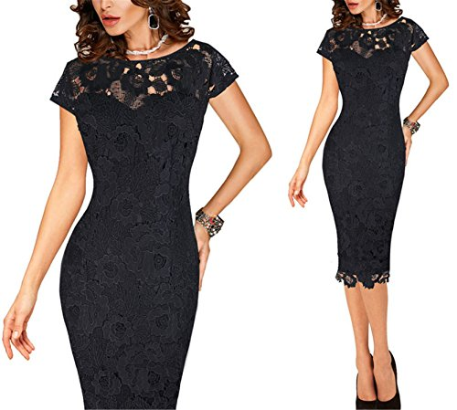 Ygosoon Womens Elegant Sexy Crochet Hollow Out Pinup Party Evening Special Occasion Sheath Fitted Vestidos Dress 4272 Black 2 5XL
