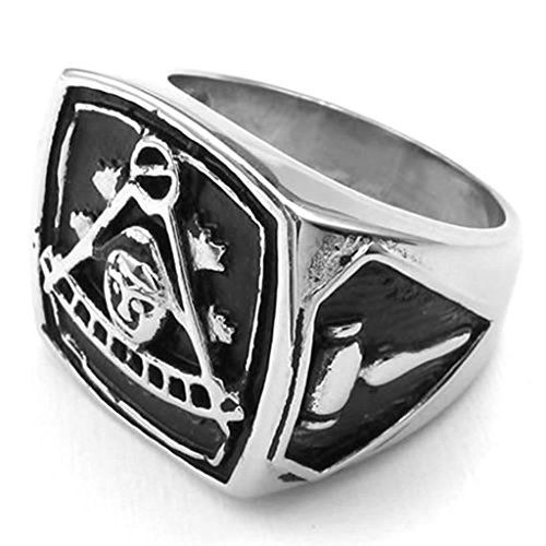 Daesar Stainless Steel Rings Mens Rings Masonic Freemason Silver Black Bands for Men Ring Vintage - Mixtapes Free Uk
