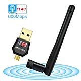 ANEWISH 600Mbps USB Wifi Adapter Dual Band 5GHz/2.4GHz Wireless Adapter 802.11ac Wireless Wifi Card Dongle for Desktop PC Laptop, Support Windows 10/8.1/8/7/XP/Vista, MAC OS X 10.4-10.12.5