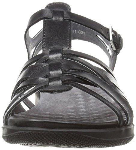 Taft Softwalk Punta De Black Piel Casual Mujeres Abierta Piso Sandalias Talla rr4wqE5xng